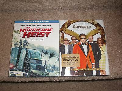 Kingsman The Golden Circle & Hurricane Heist BluRay Dvd Digital with Slip covers