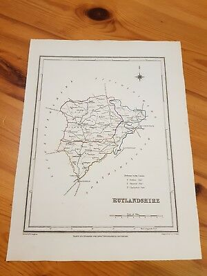19th century map of Rutlandshire hand coloured borders LEWIS TOPOGRAPHICAL