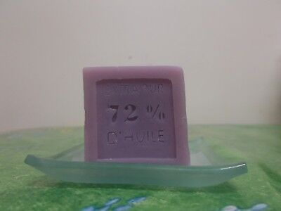 Savon de Marseille French Lavender candle Extra Pur 72% d'Huile 60g and plate