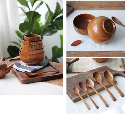Natural Wooden Dish Bowl Japanese Chinese Style Food Rice Fruit Pot Spoon Set