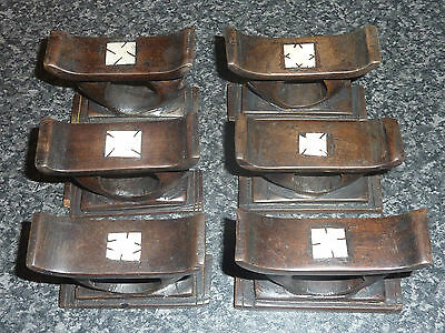 6x LATE 19TH/EARLY 20TH CENTURY ORIENTAL EBONY NAPKIN HOLDERS GOOD CON FOR AGE