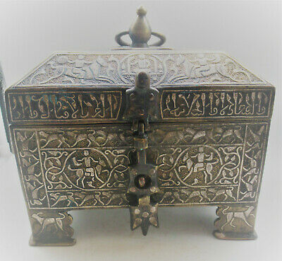 Ancient Islamic Silver Inlaid Treasure Chest Circa 1500-1600Ad Amazing Work!!!