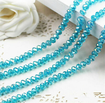 4x6mm Cheap 98PC Wholesale Lake Blue AB Crystal Beads