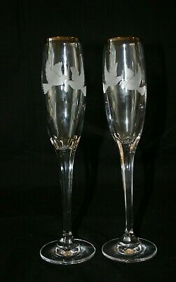 Pair Tall Mikasa Lead Crystal Champagne Flutes Etched with Doves