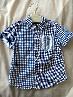 Next Baby Boy Blue Checked Shirt 12-18 Months Worn Once!