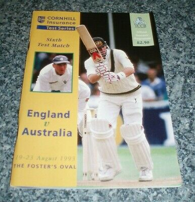 1993 Cricket England v Australia Ashes Series The Oval 6th Test Match Programme