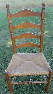 Antique Vintage French Country Ladder Back Rush Seat Chair 2 AVAILABLE