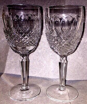 2 Waterford Tall Colleen Cut Crystal Claret Glasses. Pristine 7 Inches Tall