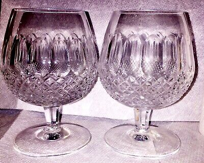 2 Waterford Tall Colleen Brandy Snifters Cut Crystal 5 1/4 In. Pristine