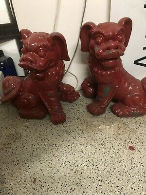 50cm Red Feng Shui Chinese Civilian Fu Dog, Foo Dogs Door Guardian Temple Lion