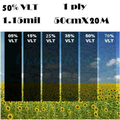 Car Black Car Home Glass Window Tint Film and shade Roll 50cm*20M 50% VLT WellA