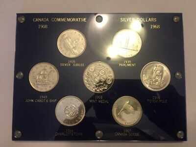 Canadian Commemorative 6 Silver Dollar Set And Mint Medal In Plastic Holder