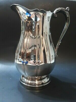 Vintage Silver Plate Silver-Plated Water Pitcher With Ice Lip