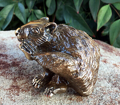 Sculpture Bronze  Wildlife Real Bronze Scratching Wombat Signed Eddie Wentorf