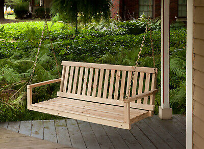 Stupendous Wooden Porch Swing 4Ft Natural Wood Patio Outdoor Yard Gmtry Best Dining Table And Chair Ideas Images Gmtryco
