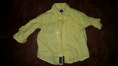 Janie and Jack 3-6 months baby boy yellow 100% linen dress shirt