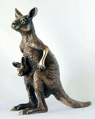 Art Wildlife Statue Cast Bronze Wildlife Kangaroo +Joey signed Eddie Wentorf