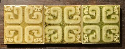 3 Antique Trent Ceramic Tile Mayan  Snakes Monkeys Victorian Fireplace Majolica