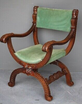 Antique carved oak baronial armchair gothic Scottish ornate heraldic carvings