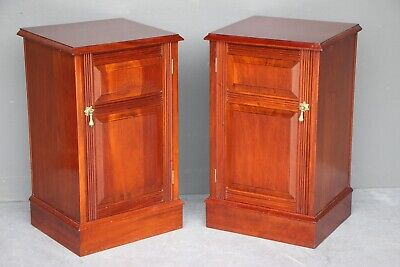 Antique pair solid mahogany bedside cabinets carved panel front doors brass 1890