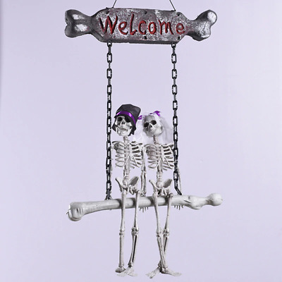 Halloween Skeleton Ghost Hanging Decoration Bride Groom Welcome Sign Scary Props