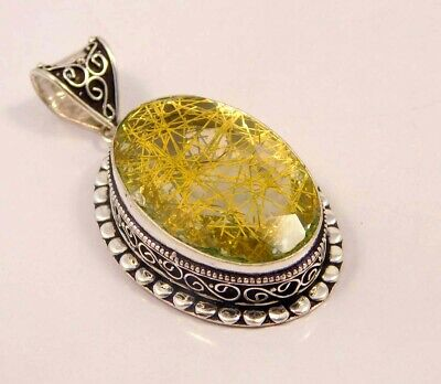 Golden Needle Rutlie .925 Silver Plated Hand Carving Pendant Jewelry JC6647