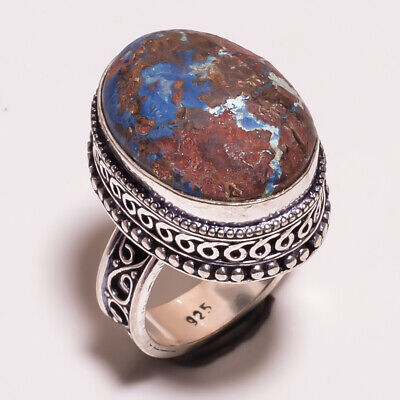 Azurite .925 Silver Plated Carving Ring Size-7.75 Jewelry JA671