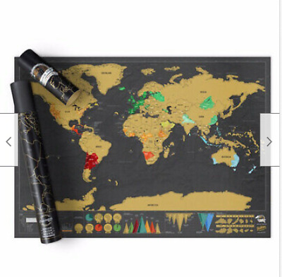 Large Scratch Off World Map Poster Personalized Map Wall Decor Gifts Christme