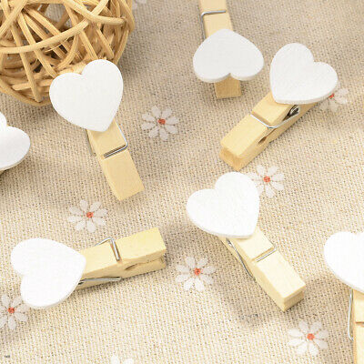 Small Wooden Craft Peg Mini Clip Metal Spring Tiny Wedding Card Table Decoration