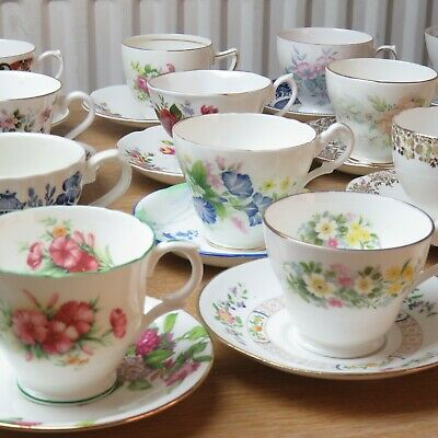 x25 Job Lot Vintage Mismatched Tea Cups And Saucers **Local Collection**