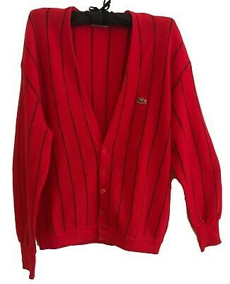 Vintage Unisex CHEMISE LACOSTE Red Pure Wool Cardigan -Size 20/105