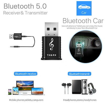 2in1 USB Bluetooth 5.0 Audio Transmitter Receiver Adapter for TV PC Car AUX