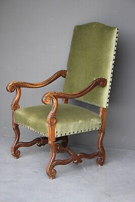 Large antique French Louis XIII carved throne armchair scroll carvings late 1880