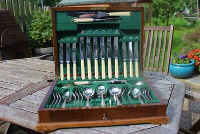 Antique 6 Place Set Of Stainless Steel Cutlery Atkin Bros Mahogany Canteen 1920