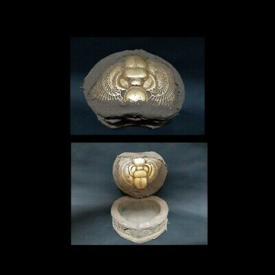 ANCIENT EGYPTIAN ANTIQUES Jewelry Box Scarab Wrapped in Linen Egypt BC