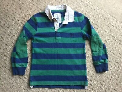 Mini Boden Boys long sleeved striped Rugby Shirt Age 7-8