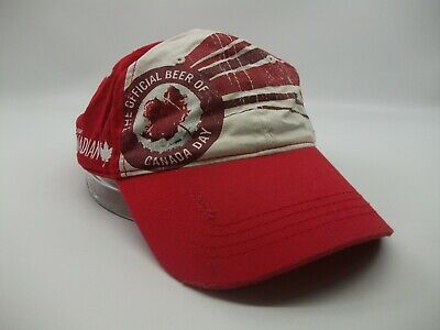 Molson Canadian Official Beer of Canada Day Hat Red White Hook Loop Baseball Cap
