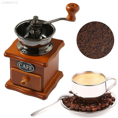 0892 Ceramic Coffee Machine Grinding Beans Wooden Retro Classical Hand Crank