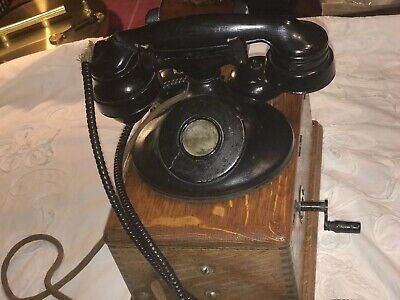 Antique Western Electric Oak Telephone Ringer Box 3 Bar Magneto 22A With Phone!