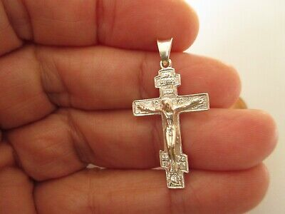 Orthodox Pendant Sterling Silver Cross From Jerusalem Holy Land Gift, Blessed
