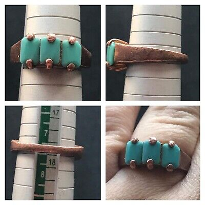 Very Old Roman Tourqise Stones Mix Copper Uniqe Ring