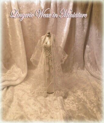 Dolls House 1:12 Mannequin Peignoir & Nightgown ~ Lingerie Wear in Miniature ~