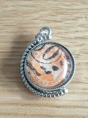 Antique Silver Plate Pocket Watch Victorian Postage Stamp Stone Spinner Fob