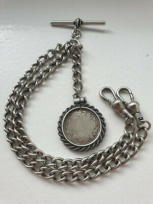 1883 Victorian Sixpence Coin Fob Antique Silver Style Double Pocket Watch Chain