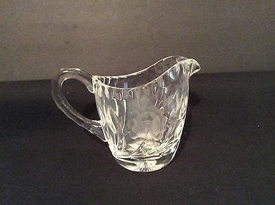 Vintage Etched Floral Brilliant Cut Glass Creamer Pitcher 3-1/2""