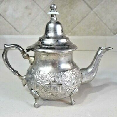 Antique Moroccan Silver Plated Footed Arabian Teapot Hand Banged Ornate Marque