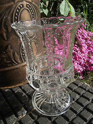 Turnbull Celery Vase - Victorian Clear Glass - No Damage