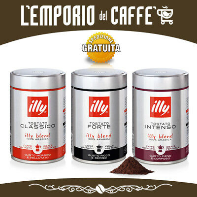 Illy Coffee Ground Moka Toasted Forte Classic And Intenso