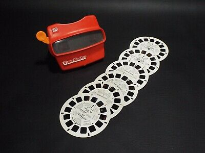 View-Master 3D Viewer Vintage Original Red Made In USA with 6 reels