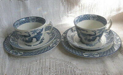 """2x WOODS 1930s 40s VINTAGE """"YUAN"""" BLUE WHITE BREAKFAST TRIO,CUP, SAUCER, PLATE"""